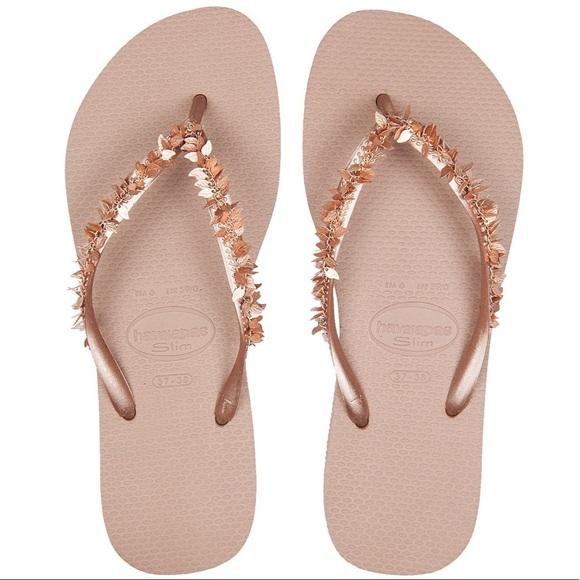 807cd364bd85 Havaianas Shoes - NEW Gold Slim Leaves Havaianas Flip Flops